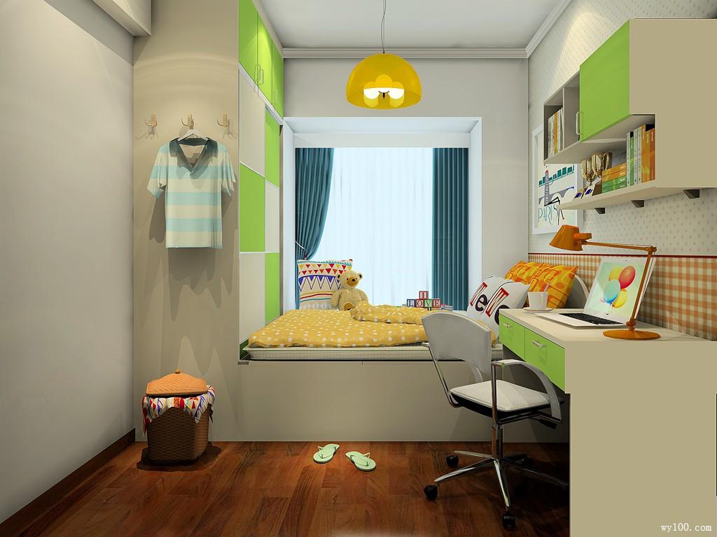 黄色系为主儿童房 青葱的绿调点缀营造春天般清新_维意定制家具商城