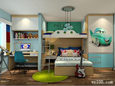 利用上下床节省空间设计 儿童房整体风格清新可爱 title=