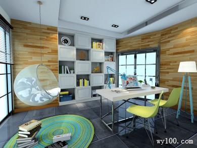 美式书房 高低吊柜和书桌放置使空间充满灵动性 title=