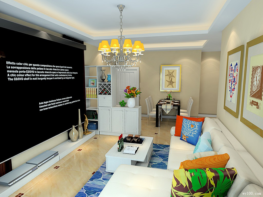 客餐厅装修效果图 29�O电视屏幕让客厅更大气_维意定制家具商城