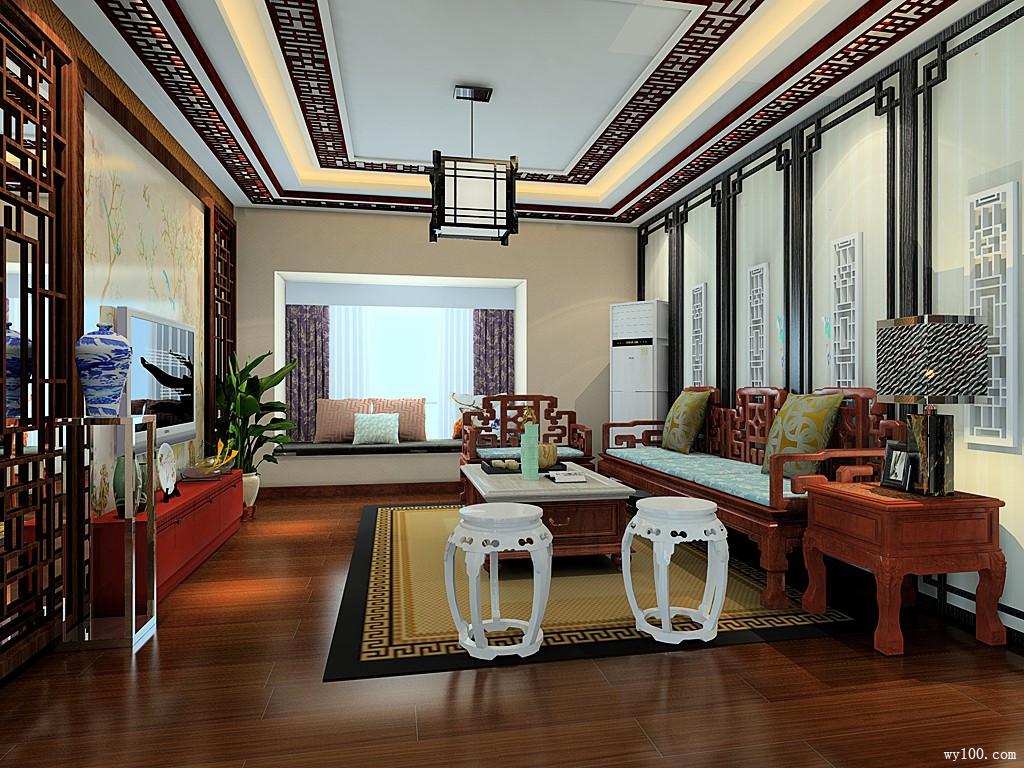 中式客餐厅效果图 64㎡大气背景墙装饰图片