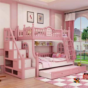 现代梦幻卧室高低床装修效果图