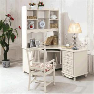 简易办公欧式书桌书柜组合