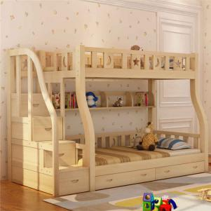 简约松木卧室高低床装修效果图