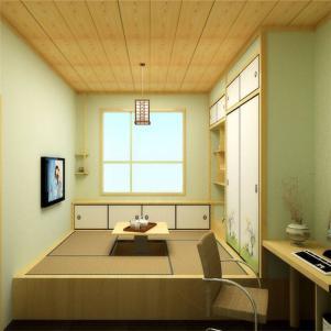 实木日式卧室地台床装修效