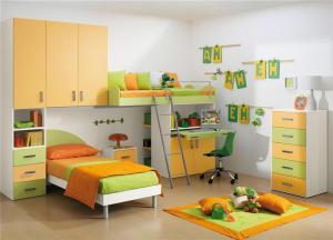 清新两个孩子儿童房设计