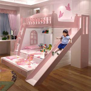 儿童多功能卧室高低床装修效果图