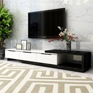 实木象牙白色电视柜