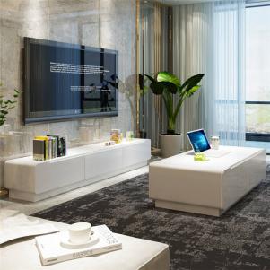 实木客厅白色电视柜