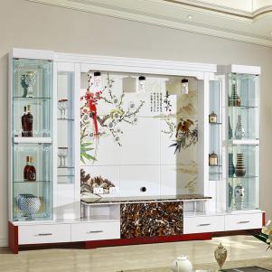 现代酒柜背景墙电视柜