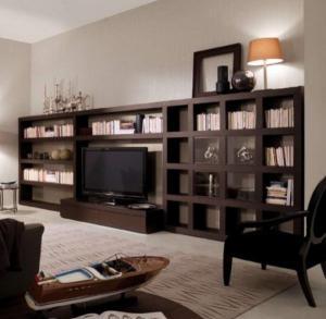 好看的最新电视书柜一体效果图