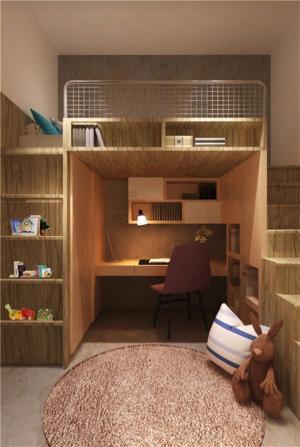 上下书桌组合10平米儿童房设计