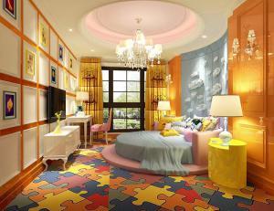 粉色系儿童房圆形床卧室效果图