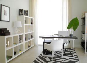 黑白搭配书房布置效果图