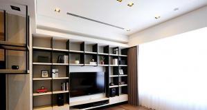 现代简约电视书柜一体效果图