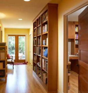 小户型书房电视书柜一体效果图