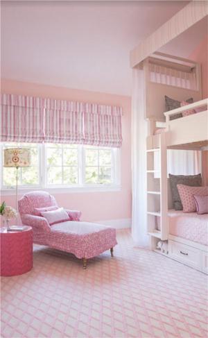 国外粉色两个孩子儿童房设计