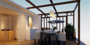 新中式风阳台改餐厅效果图