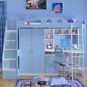 男孩组合上下床带衣柜