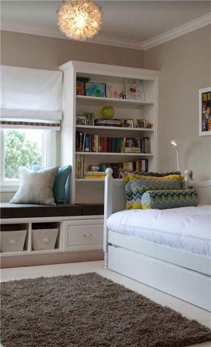 儿童房窗帘效果图飘窗设计