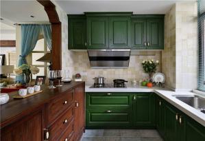 美式绿色整体橱柜