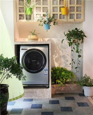 宜家风格洗衣机放阳台效果图