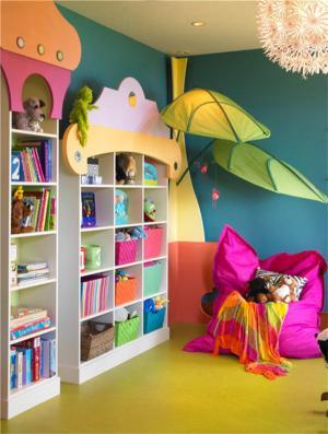 儿童房布置书柜装饰