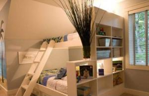 转角小户型儿童房双层床效果图