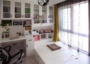 小房间榻榻米书桌书柜三体组合