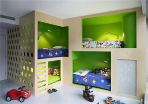 小户型新款儿童房双层床效果图