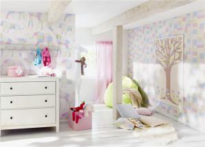 女孩墙纸创意儿童房
