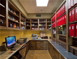 实木U型中式书柜