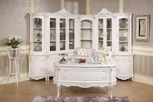 欧式书桌书柜组合白色储物柜