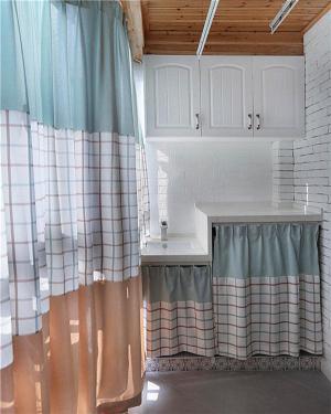 洗衣机放阳台效果图帘子装饰