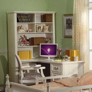转角水曲柳欧式书桌书柜组合