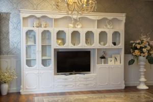 欧式电视书柜一体效果图实拍