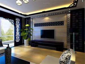 三室两厅中式电视背景墙