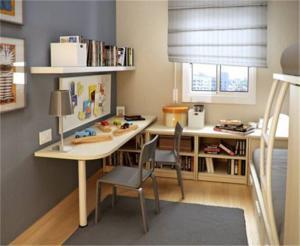 双人儿童书房装修效果图