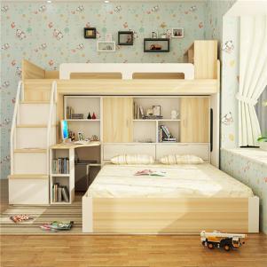 双人上下床带书桌扶梯