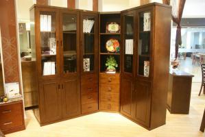 实木转角书柜设计