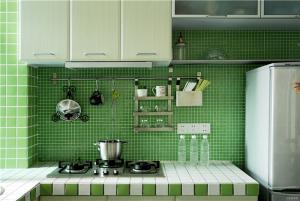 绿色瓷砖厨柜