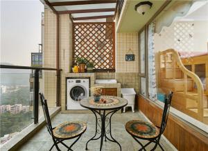 异国风情洗衣机放阳台效果图