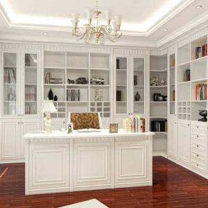欧式书桌书柜组合木质整体书桌