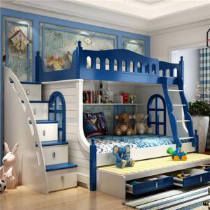 男孩儿童房设计上下床高低床多功能