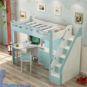 儿童房设计上下床带衣柜的多功能组合床