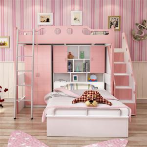 上下床带衣柜带储物功能组合床