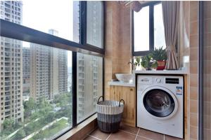 高层全包阳台洗衣池效果图