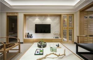 中式实木电视墙装修效果图