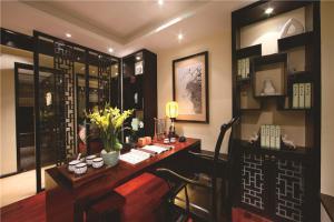 中式书桌书柜组合效果图大全