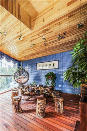 原木餐桌阳台改餐厅效果图
